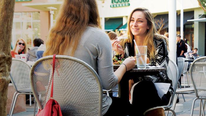 students eating outside