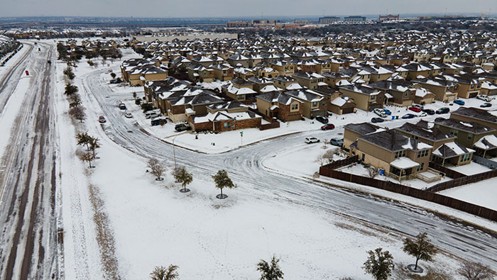 Aerial shot of Austin suburb after winter storm 2021