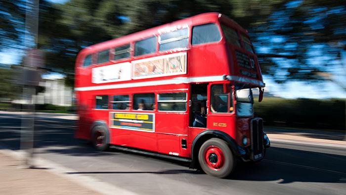 Unitrans red double decker bus