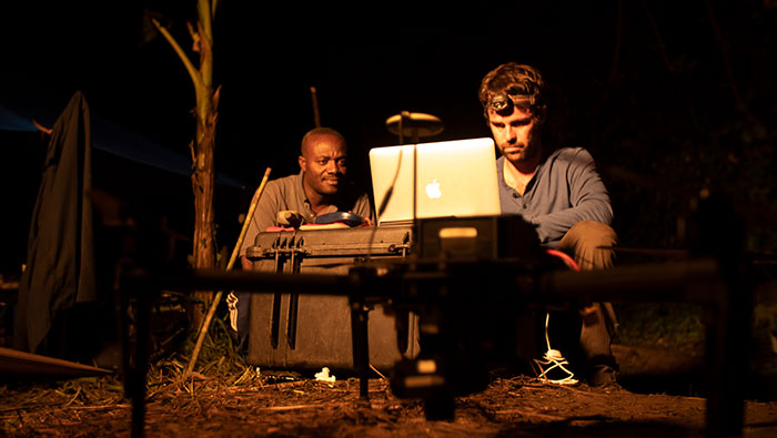 UC Davis anthropologist Damien Caillaud, right, and Congolese colleague Urbain Ngobobo