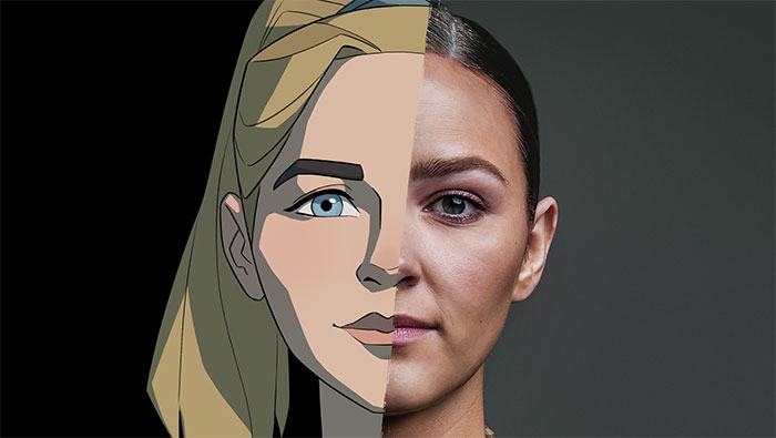 Emma Malonelord, half animated, half photo