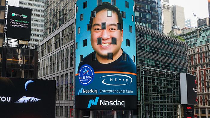 Ben Wang on Nasdaq building