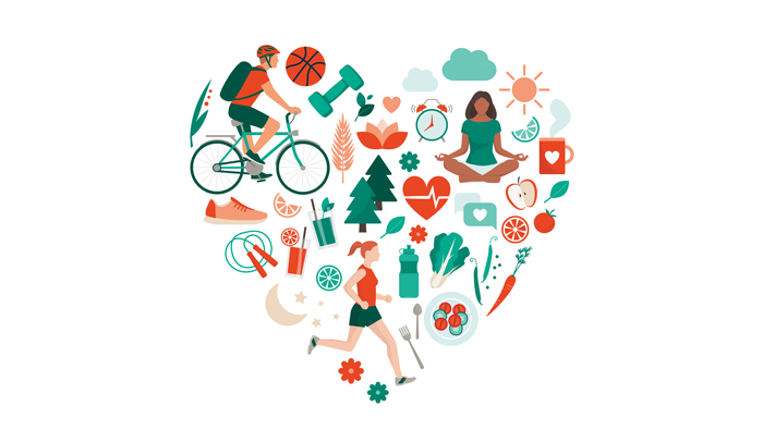 Illustrations of healthy lifestyle arranged in a heart