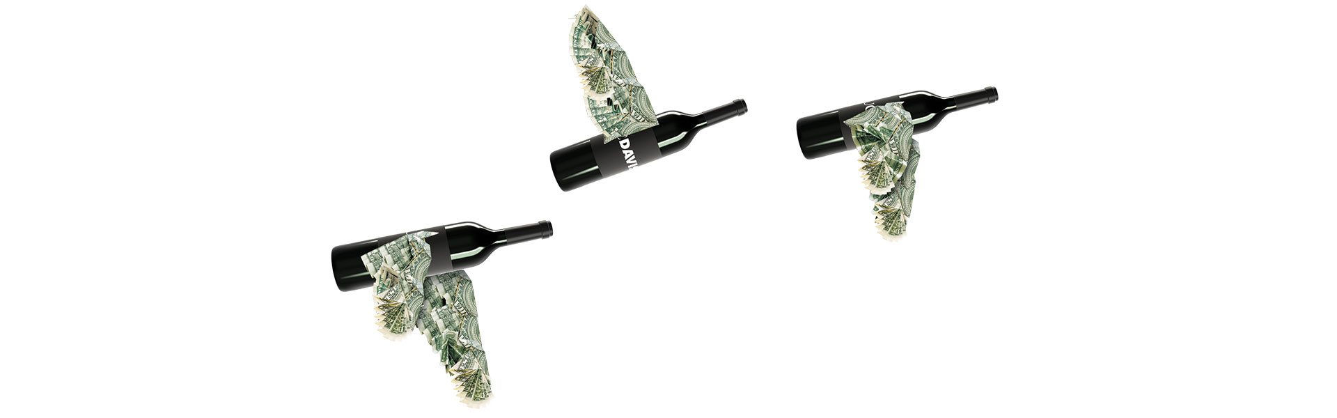 wine bottles with money wings flying like a flock of birds
