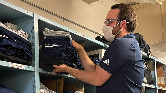 Brian McGovern in the equipment room
