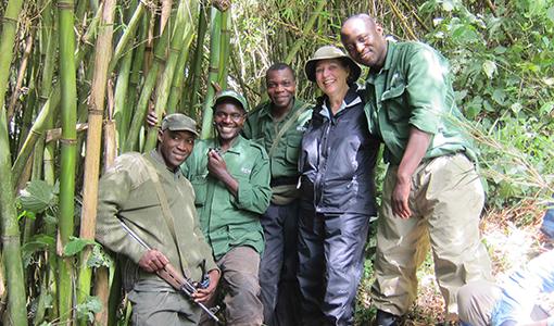 Deborah Dunham, Gorilla Doctors Board Chair, with her gorilla trekking team in Rwanda, 2011. Photo courtesy of Deborah Dunham