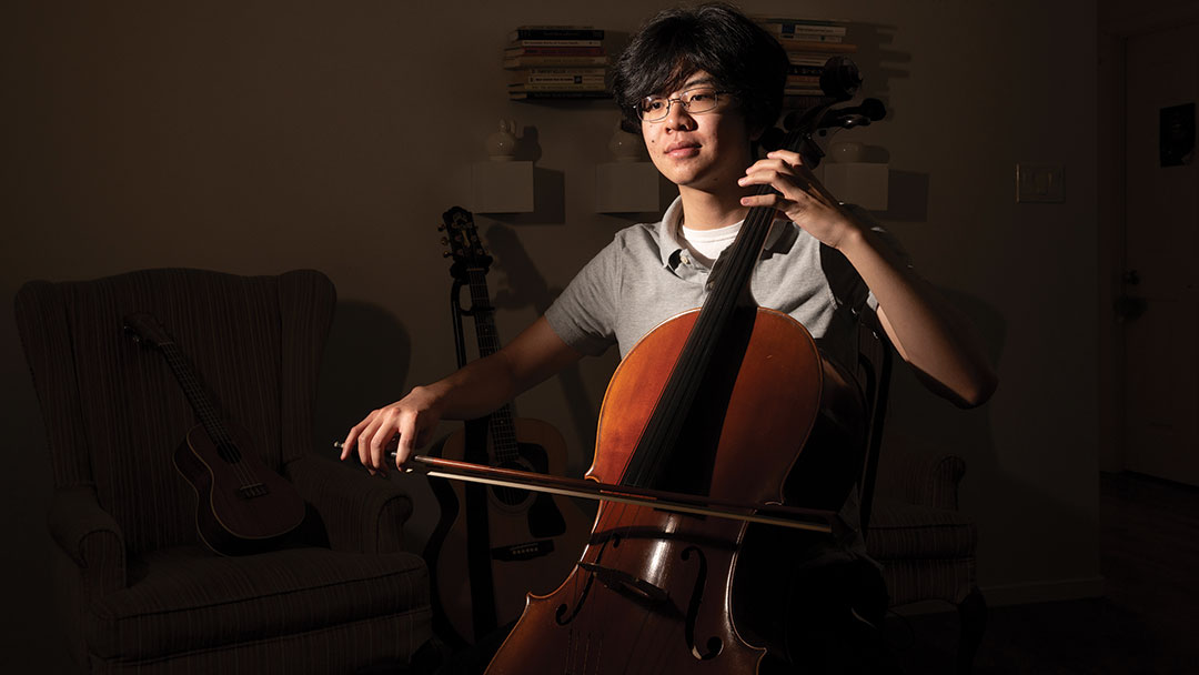A student plays the cello