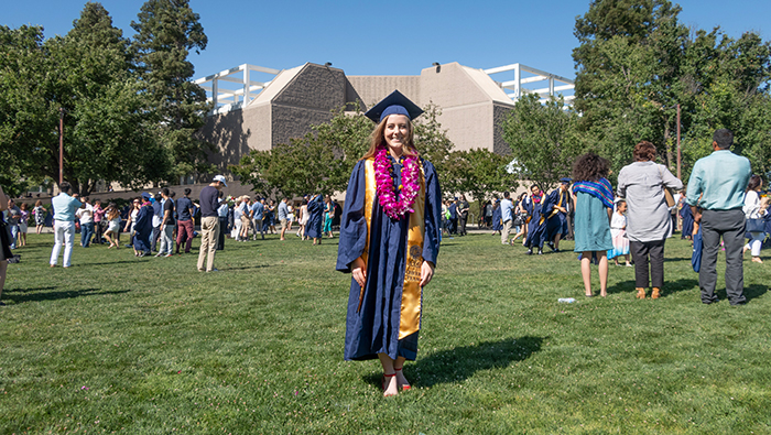 Megan Bull at her UC Davis graduation in 2018
